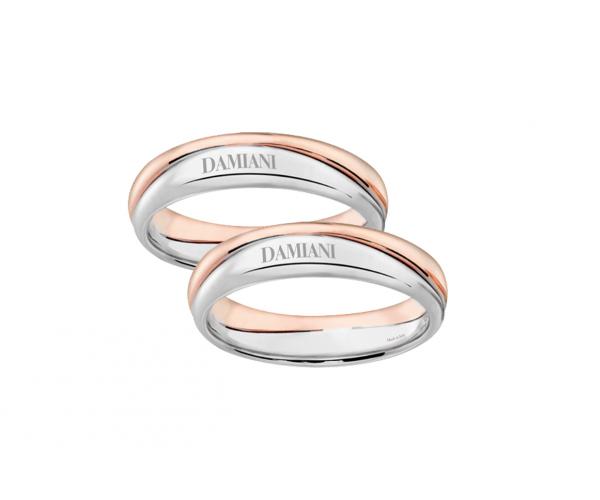 Fedi nuziali Damiani oro bianco e oro rosa
