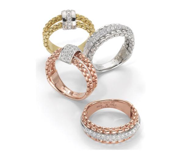 Fedi nuziali Pavè diamanti oro rosa, giallo e bianco