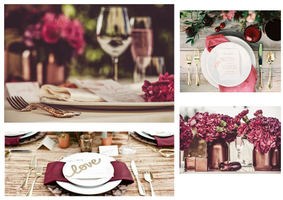 decorazioni centrotavola matrimonio tema vino bordeaux marsala