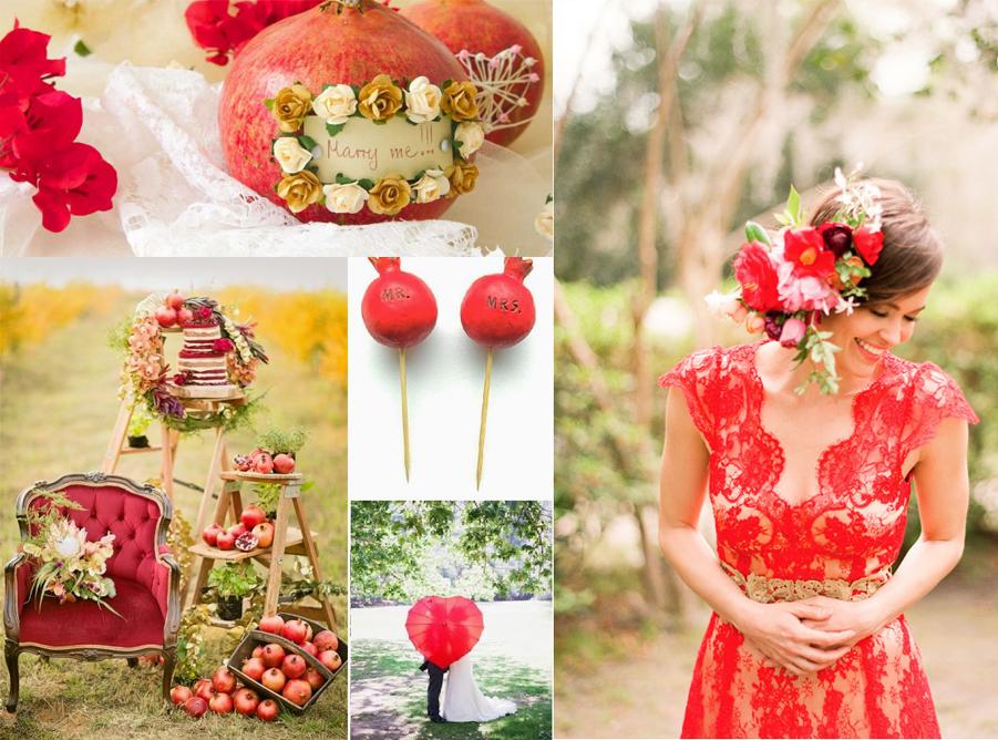 matirmonio novembre tema melagrana sposarsi sposa rosso vestito temi idee consigli