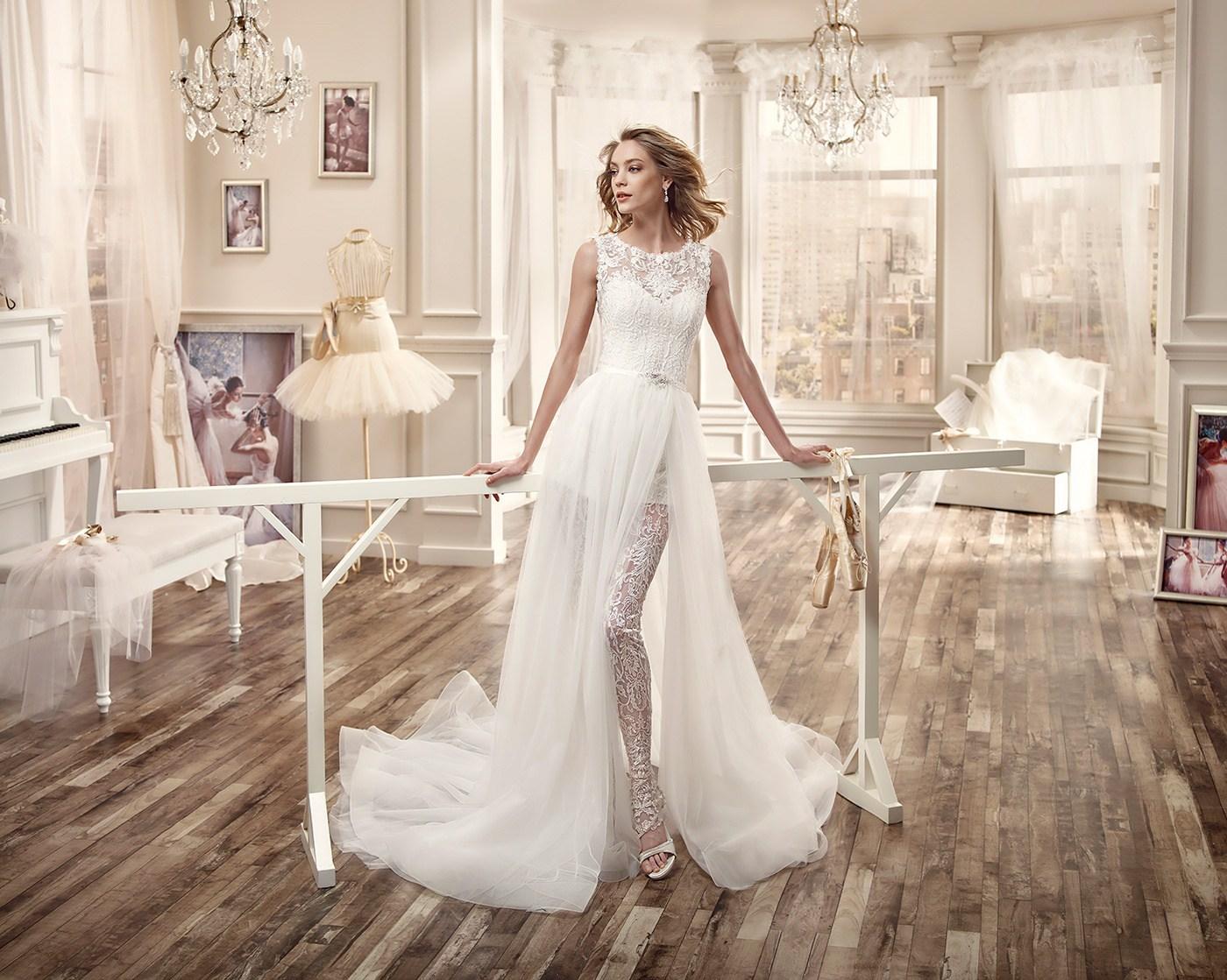 sposa pantaloni tendenza 2017 abito asimmetrico