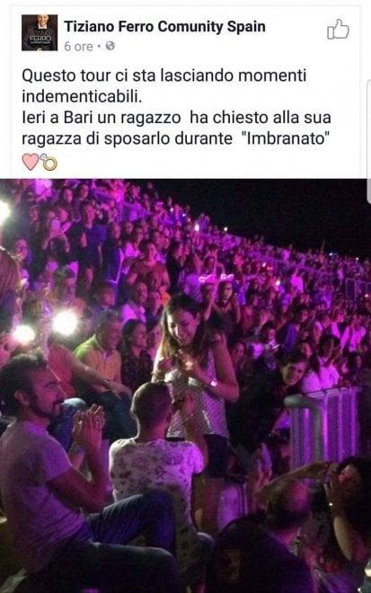 tweet di tiziano ferro dopo la proposta di matrimonio al concerto