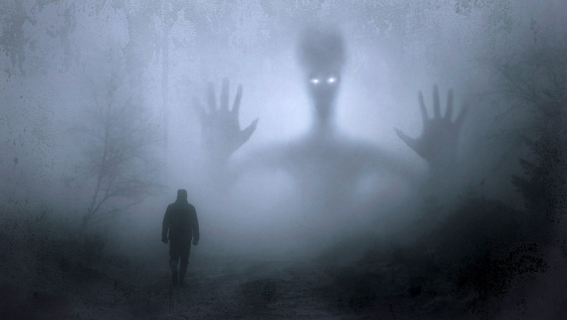 Picture of a man walking in a forest confronted by a ghost