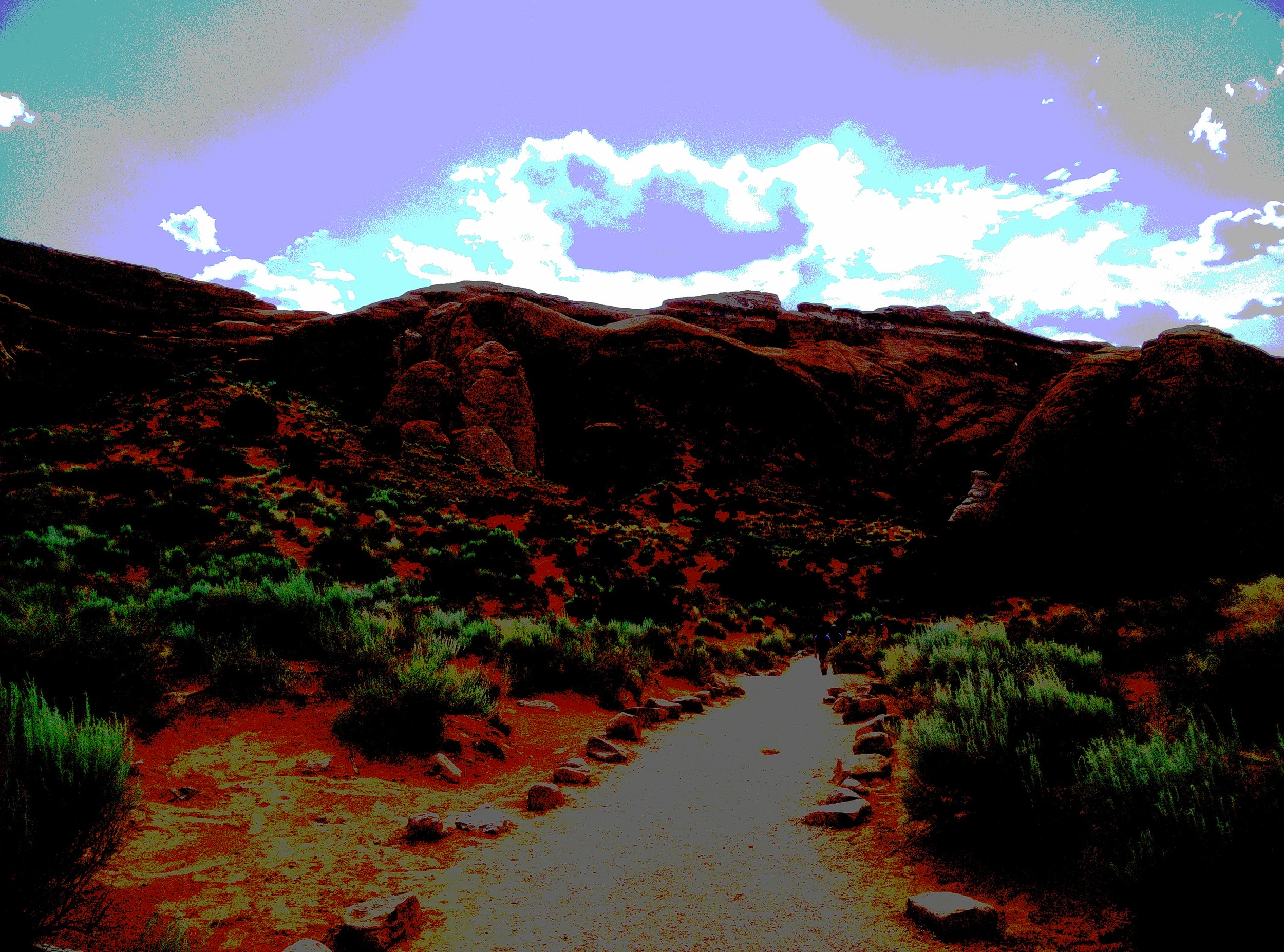 Hiking through Arches National Park (the only picture with a filter applied).