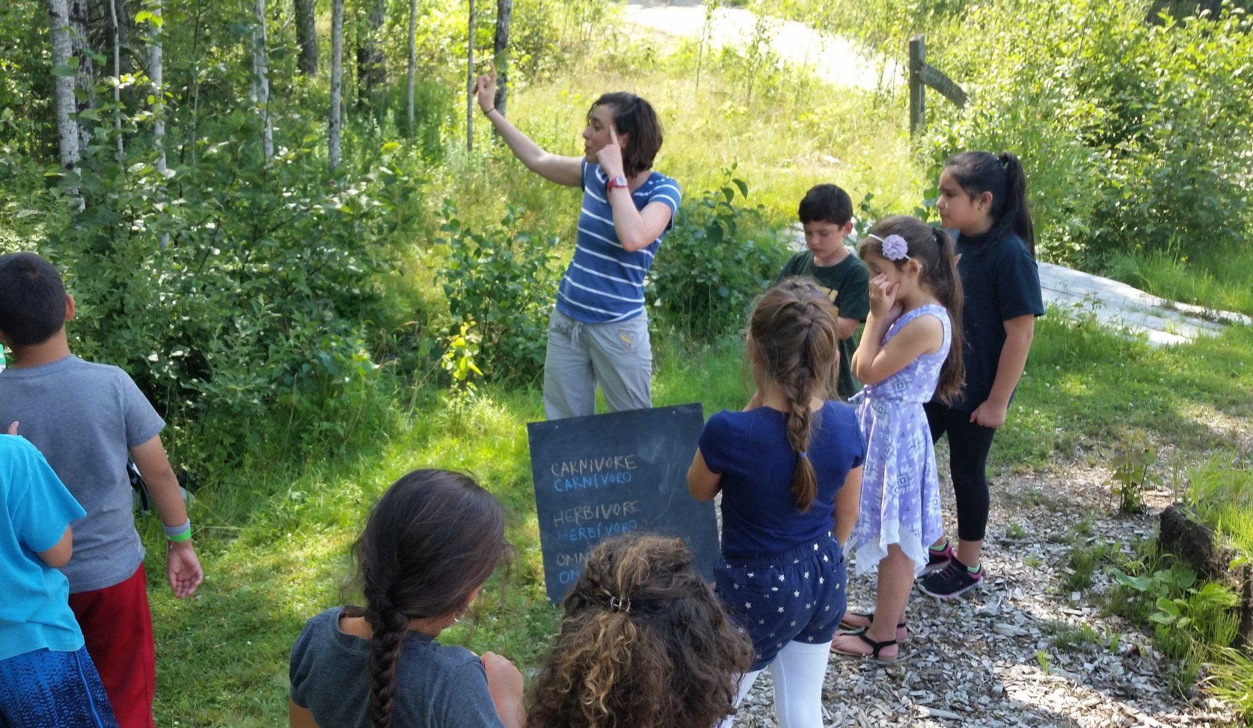 Ellie teaching about carnivores, omnivores, and herbivores at Blueberry Harvest School