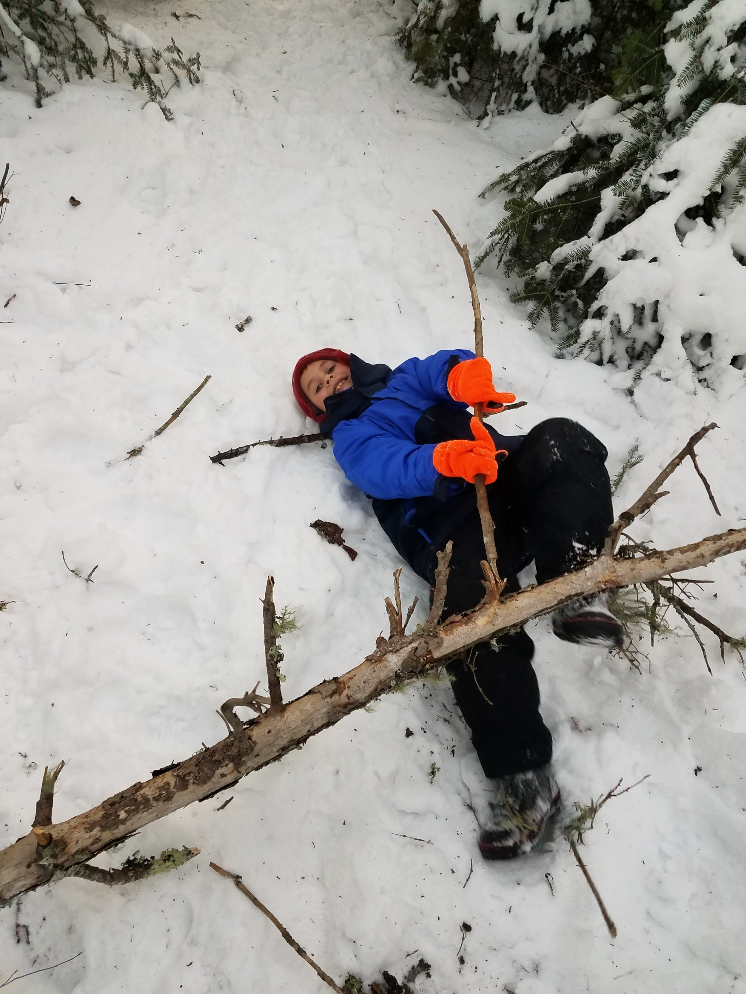 Sometimes carrying sticks for your shelter can be hard and you just have to fall over!