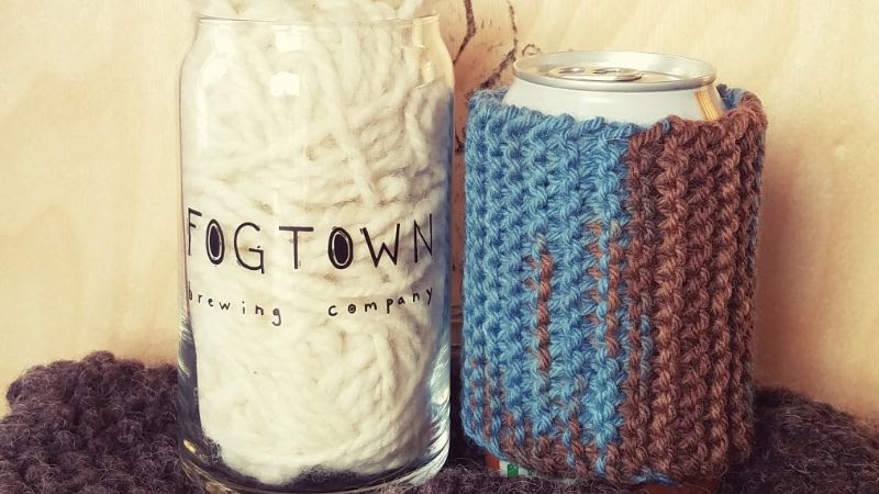 Knit & Sip koozie from Fogtown Brewing event