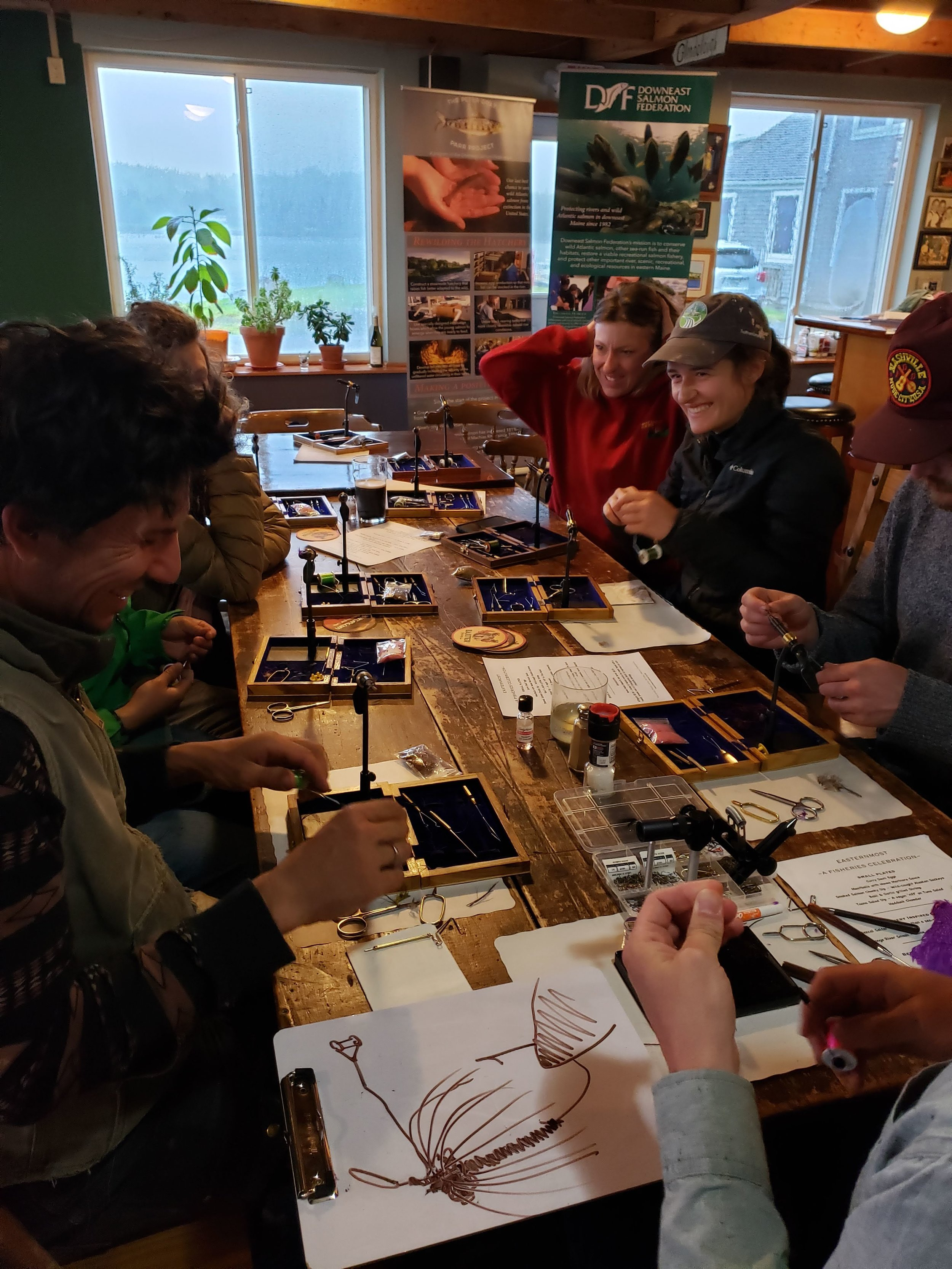 Fly-tyers at our workshop at Cohill's Inn in Lubec