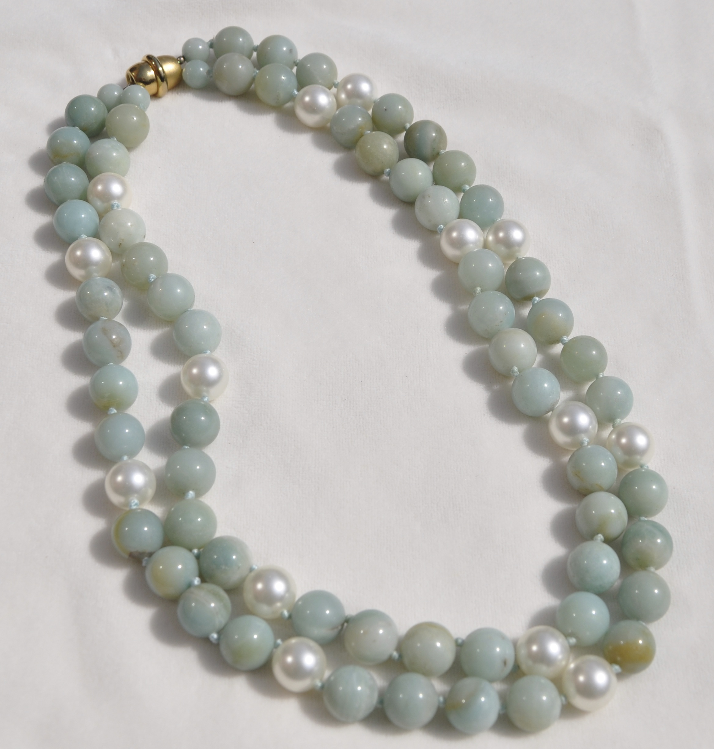 Amazonite and Mother of Pearl Double Strand