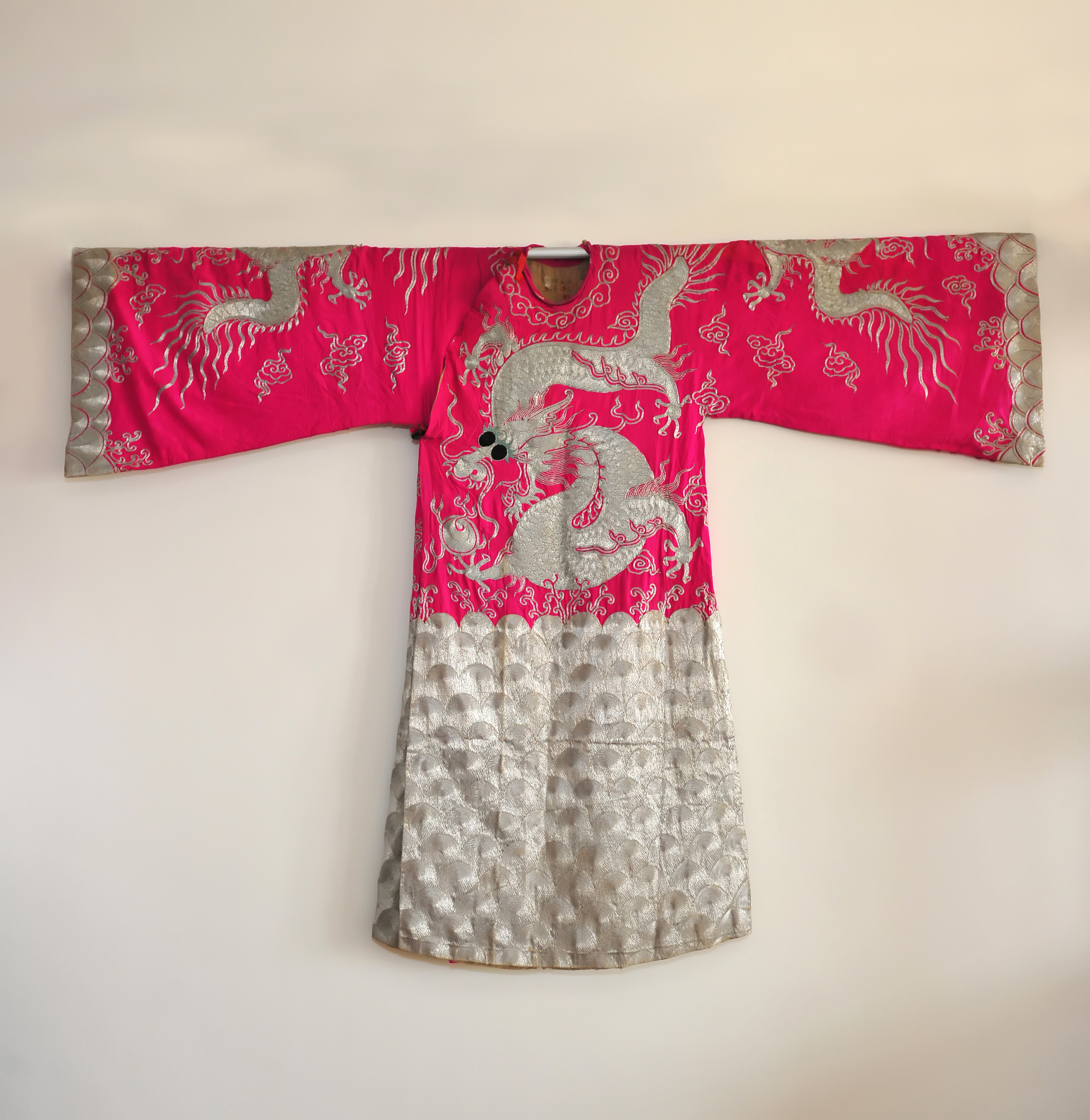 late 19th century, Hot Pink and Silver Dragon Robelate 19th century, Hot Pink and Silver Dragon Robe
