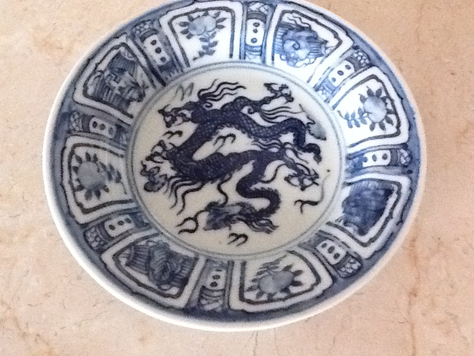 Chinese Blue and White Chinese Saucer with Dragon