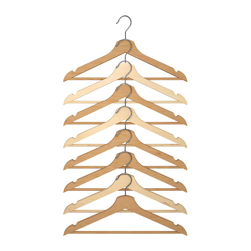 Wooden Hangers -BUMERANG, Curved clothes hanger, natural  Ok, these aren't white but they're another item that keeps me going back to Ikea for more!