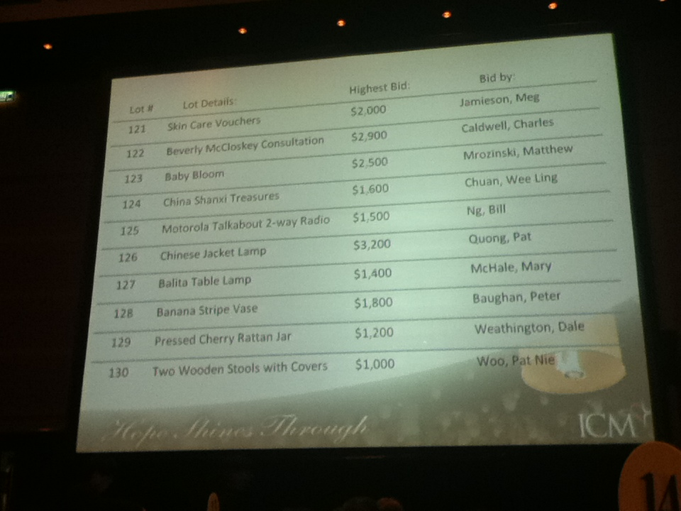 This is 1 of 5 large screens that projected the silent auction.