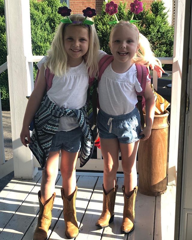 It's either Farm Day or Daisy Duke Day at First Pres Day School. Thank you Mrs. June for our flower headbands! #sistersrule