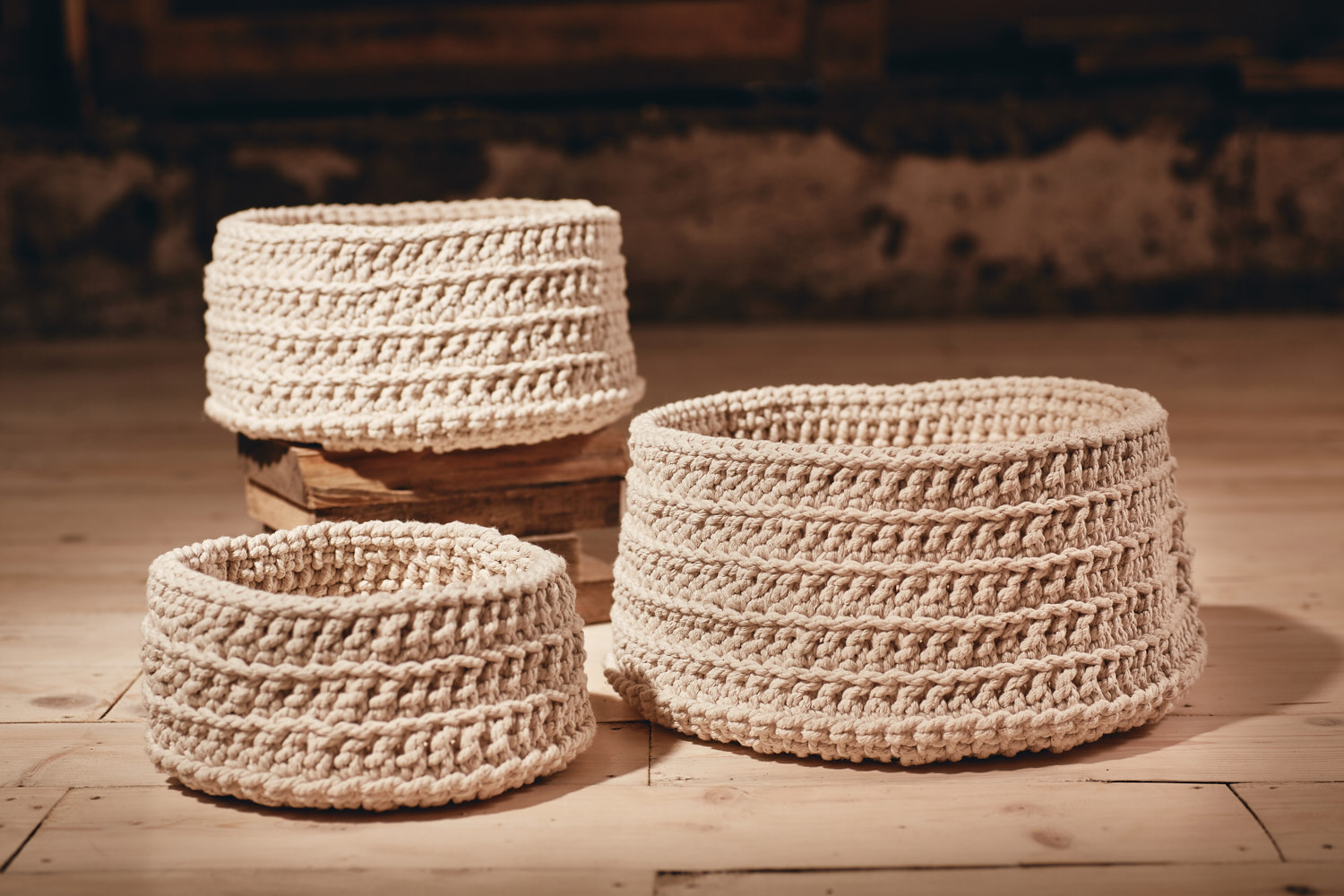 BASKETS   Round,multi-use, hand-crocheted baskets   Recycled Cotton (chunky) Available in:  Small - Approx. 23cm x 12cm  Medium - Approx.30cm x 15cm  Large - Approx. 35cm x 18cm