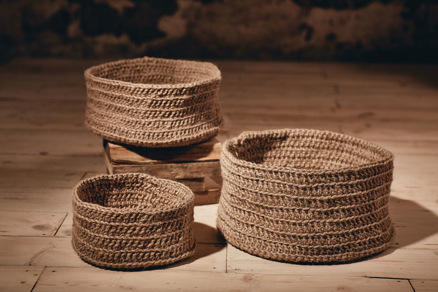 BASKETS   Round, multi-use, hand-crocheted baskets   Eco Twine Available in:  Small - Approx. 23cm x 12cm  Medium - Approx.30cm x 15cm  Large - Approx. 35cm x 18cm