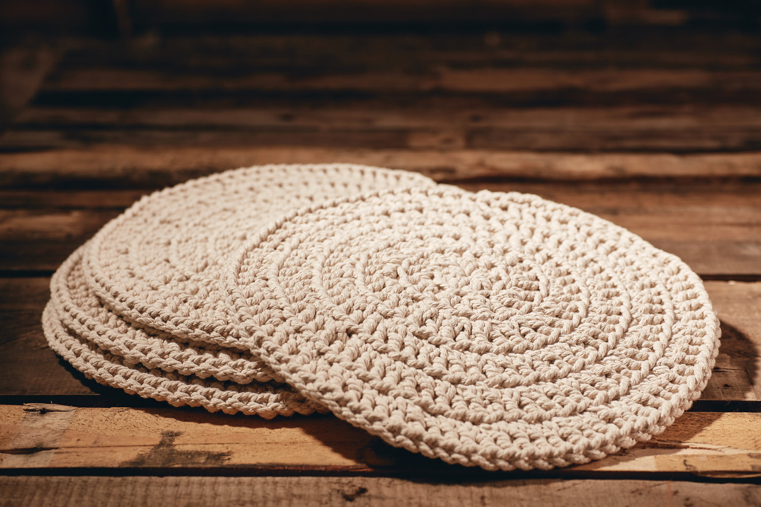 PLACEMATS - LARGE  Recycled Cotton (chunky) Set of 4  Hand-crocheted placemats Approximately 35cm in diameter.