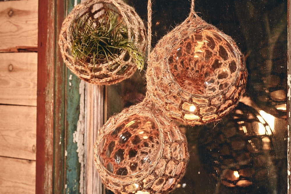PEACE LANTERNS   Eco Twine Hand-crocheted Covers  Multi-use decor items ideal for air plants or LED candles  Large -20cm x 14cm  Medium -15cm x 11.5cm  Small - 13cm x 9.5cm