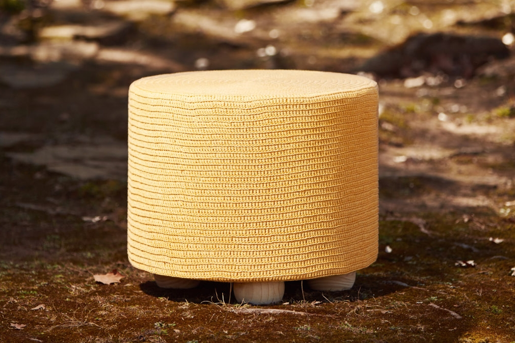 ROUND OTTOMAN WITH WOODEN BUN FEET   Hand-dyed Organic Cotton (Colour Chart Below)  D600mm x H450mm  High density foam inner cushion, base board with 4 wooden bun feet, removable fabric lining, hand-crocheted cover