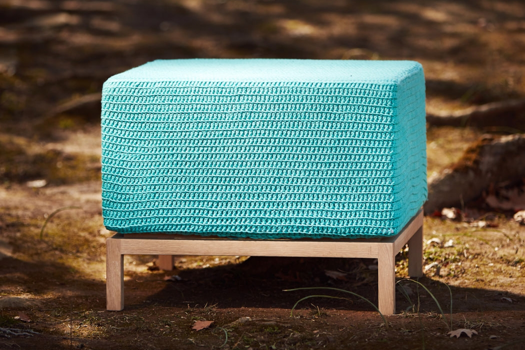 CONTEMPORARY OTTOMAN   - LARGE  Hand-dyed Organic Cotton (Colour Chart Below) 600mm x 600mm x H450mm  French oak base, high density foam cushion, fabric lining, hand-crocheted cover.
