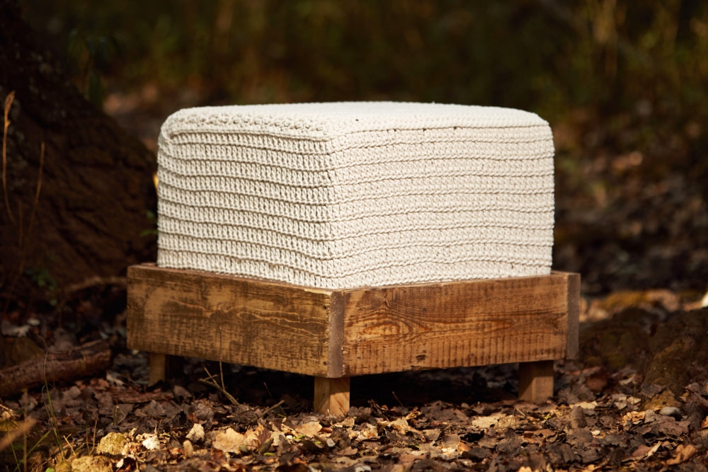 RUSTIC OTTOMAN   - SMALL  Recycled Cotton Twine (Chunky) 450mm x 450mm x H450mm  Reclaimed cedar base, high density foam cushion, fabric lining, hand-crocheted cover