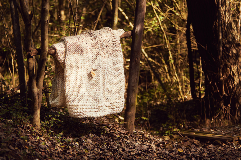 GRANDMA'S STOCKING BLANKET   Hand knitted using mega-chunky yarn and needles