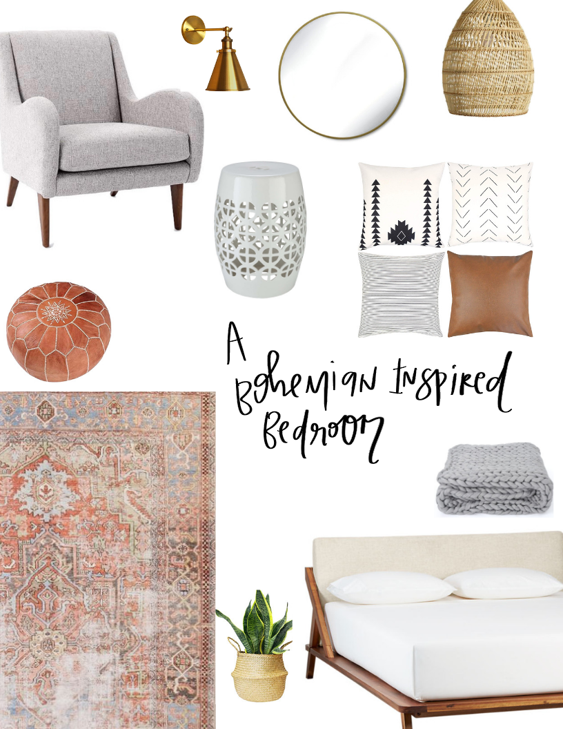 a bohemian inspired bedroom : one delightful home : www.onedelightfulcreative.com