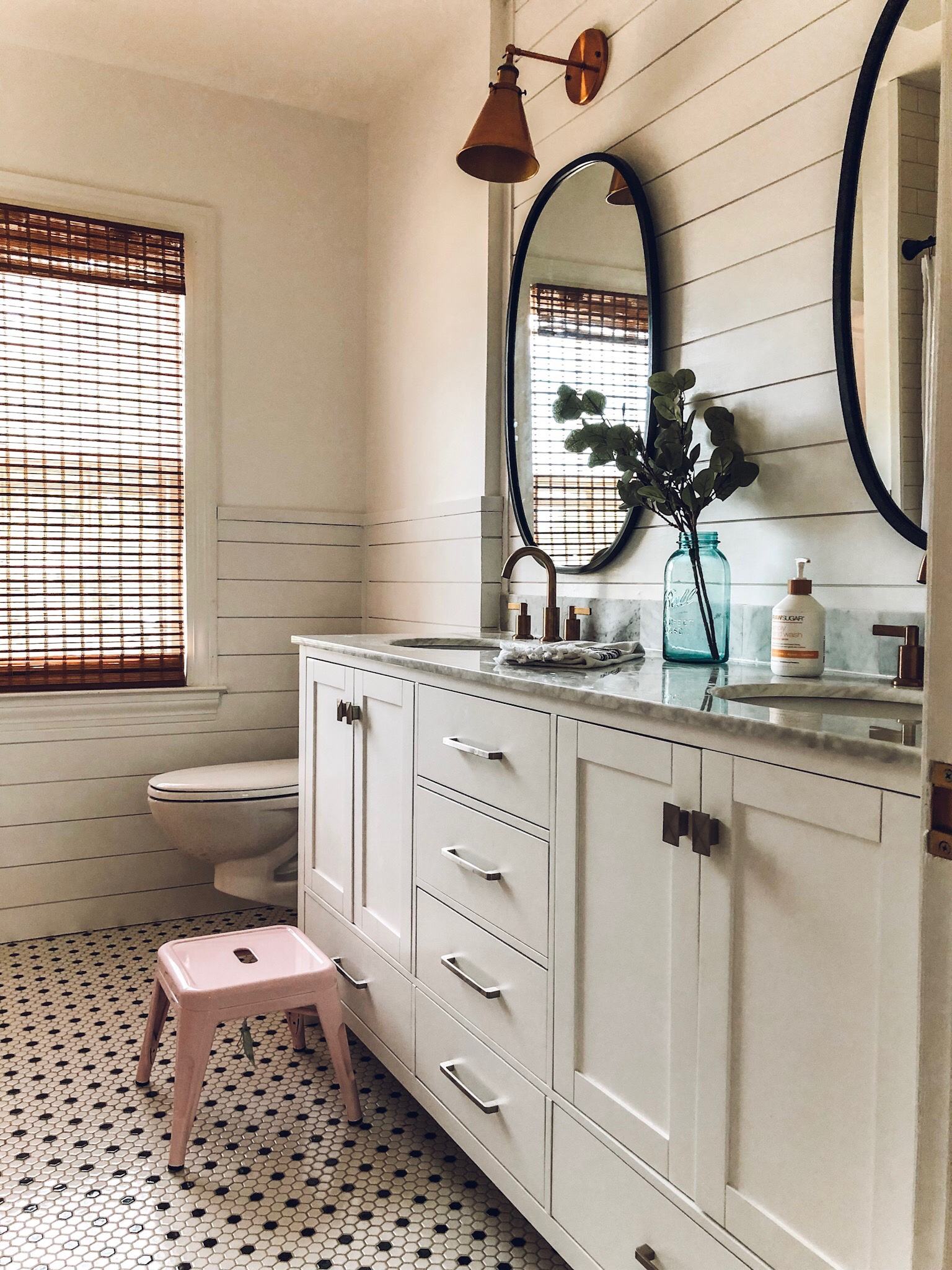 Pink Bathroom remodel. Find sources at onedelightfulcreative.com / www.instagram.com/onedelightfulhome