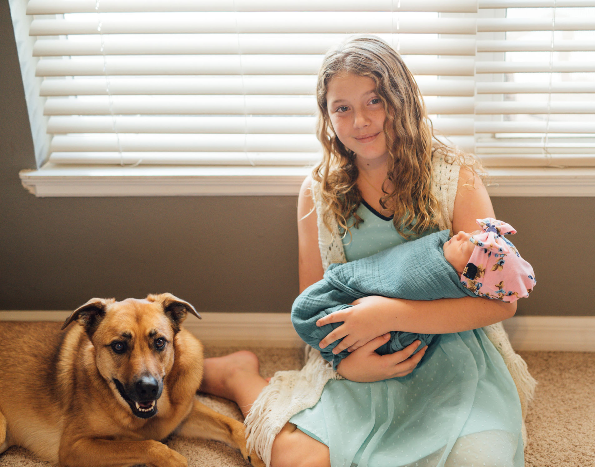 orlando newborn session with dog