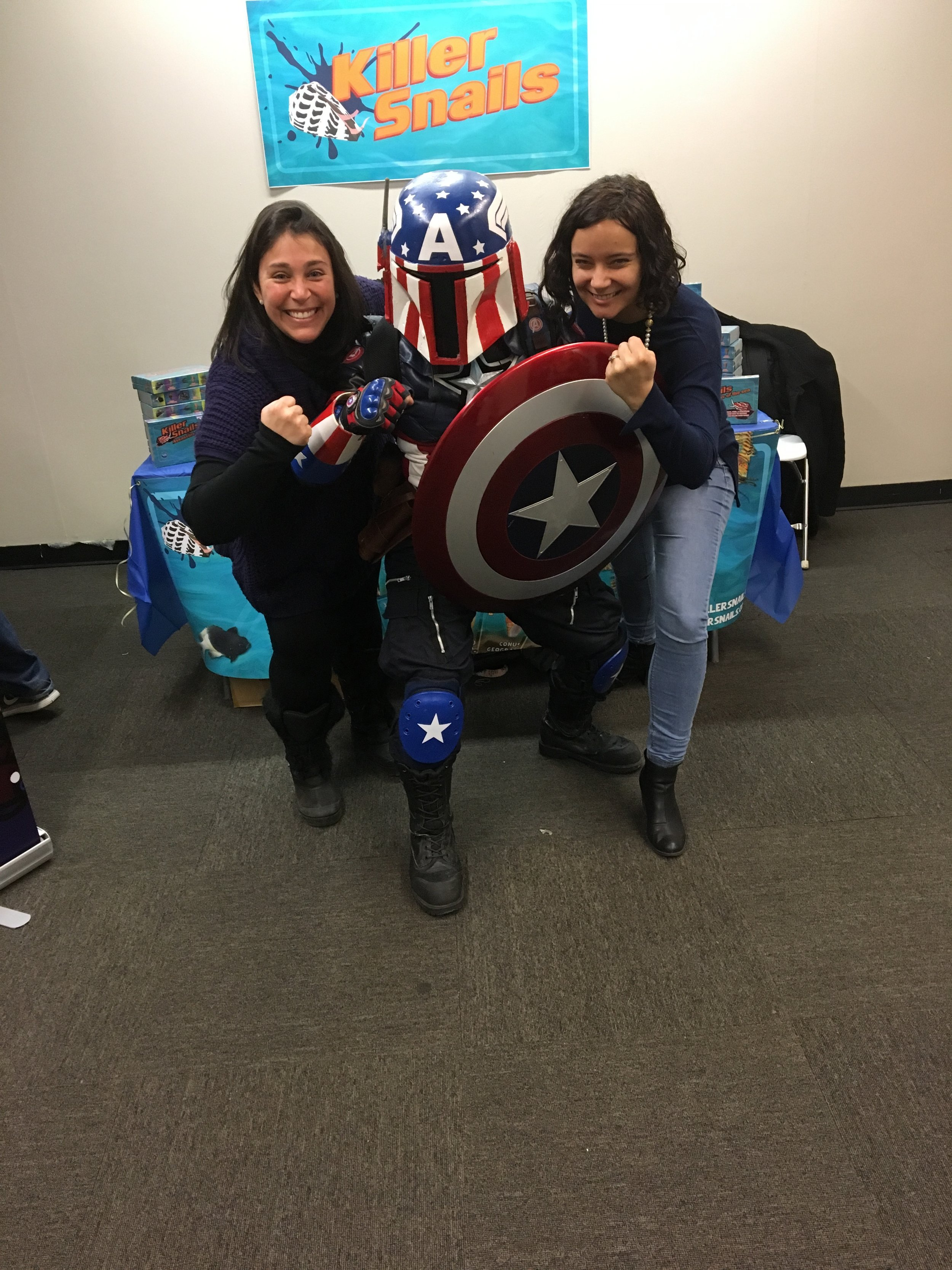 Jessica and Lindsay with Captain America!