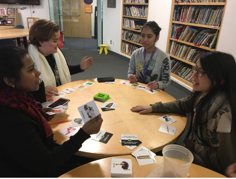 From left to right: Kumari, Yuliya, Leah, and Samantha played a game of Slapzi