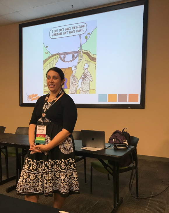 Dr. Lindsay Portnoy speaking on partnering in game development with cultural institutions