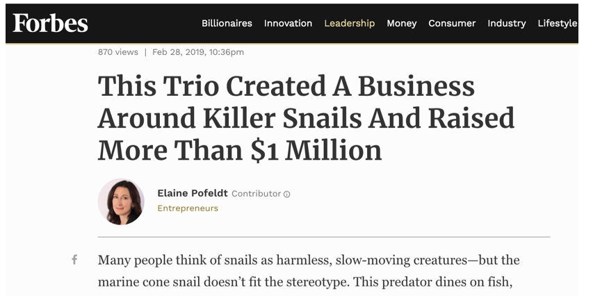 February 28, 2019 article featuring Killer Snails!
