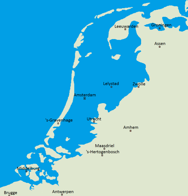 Arkesteijn's map of current areas under sea-level (courtesy Wikimedia Commons)