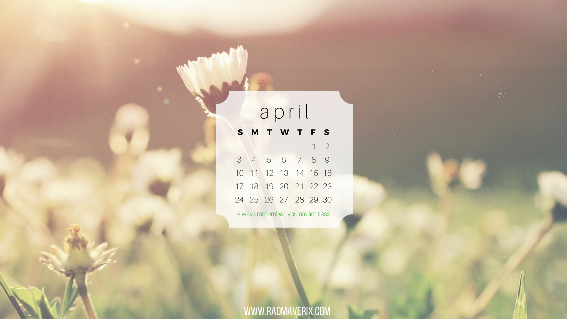 Rad Maverix April 2016 Calendar