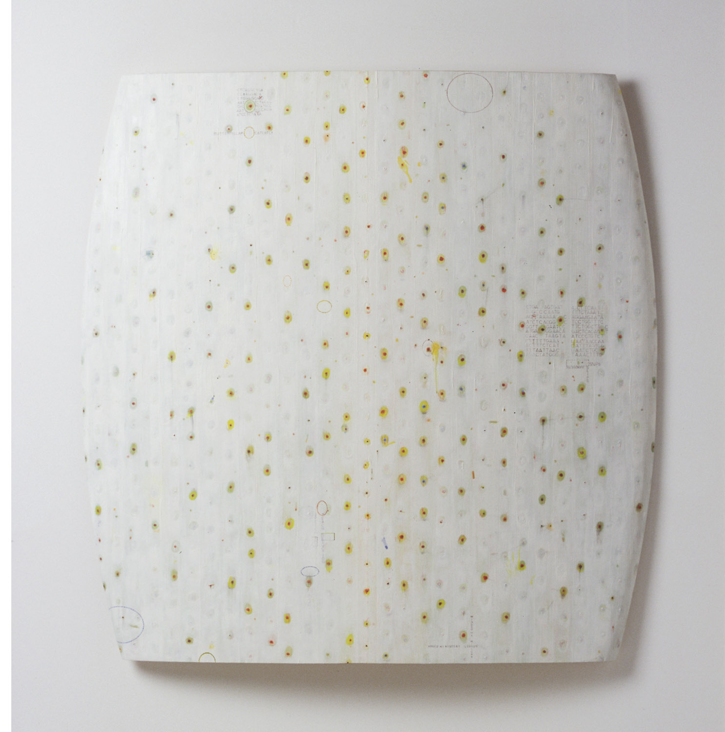 smear (3) , paint, ink, sheet cork, molded plywood, 44.5 x 45 x 2 inches, 2000