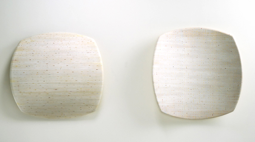 scrape/swab (2) , paint, ink, sheet cork, shaped plywood, 33 x 32 x 5.5 inches(each), 2001