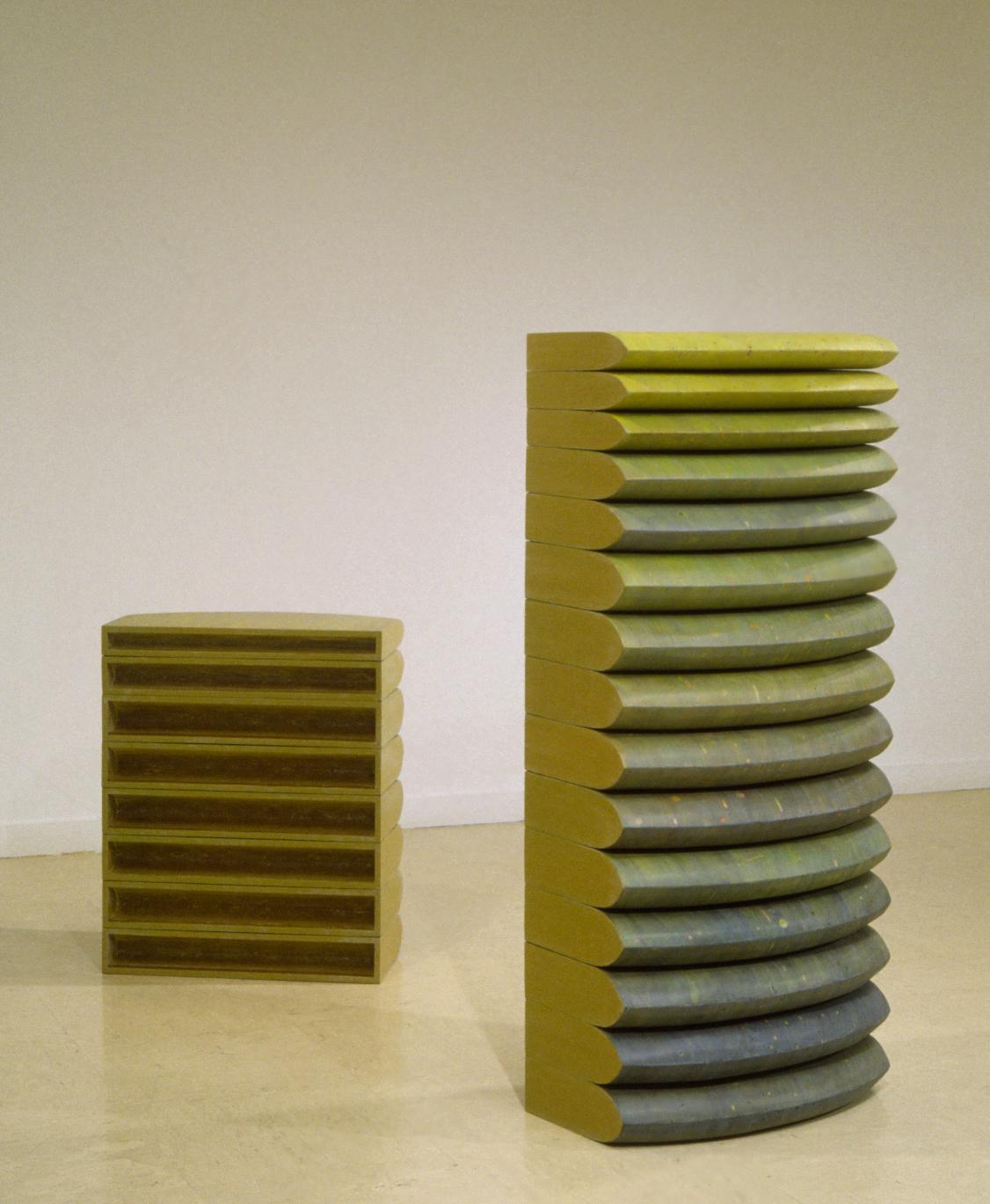 hive,  acrylic paint on cork, polyurethane, shaped MDF, 33 x 25 x 12; 58 x 25 x 12, Cranbrook Art Museum, 1999