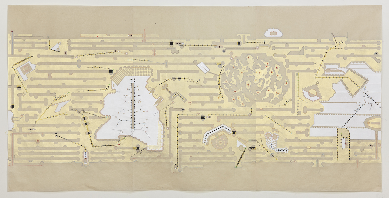 neurosphere , paint, tape, stickers, thread on kozo paper, 36 x 72 inches, 2010