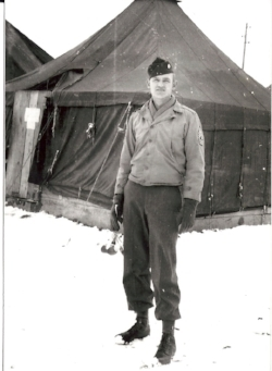 1st Sgt Leo Hobby, 210th Repl Co. Marseilles France, 1945. Baker Collection