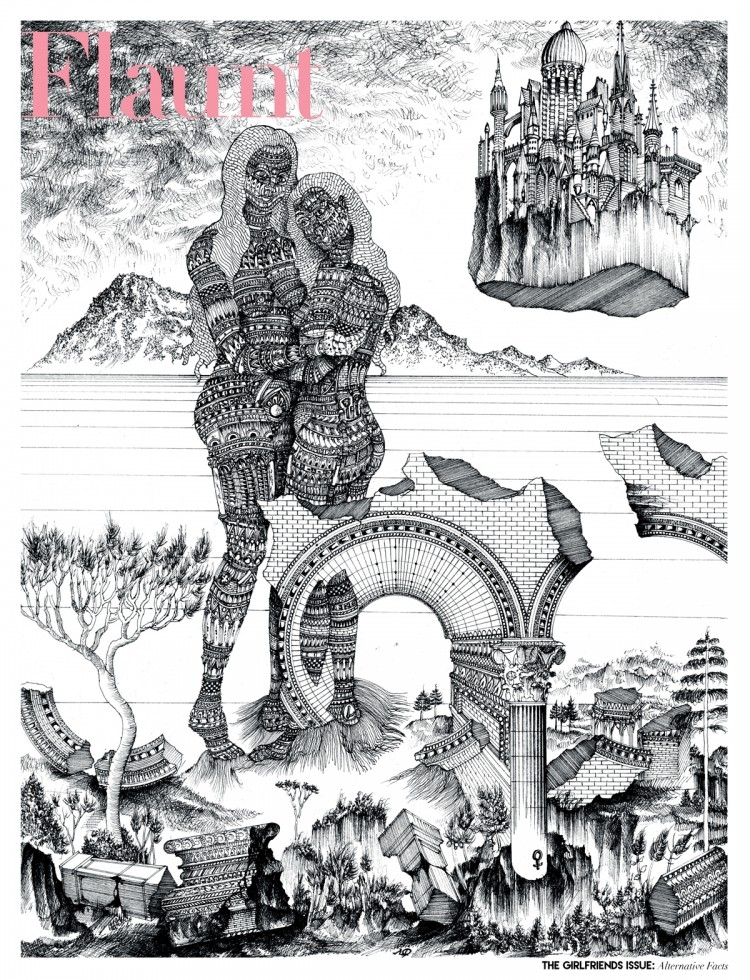 """Octave Marsal. """"Invoke the Muses"""" (2017). Technical pen on paper. 28 x 36 centimeters. Courtesy the artist and Benoit Ponsaillé."""