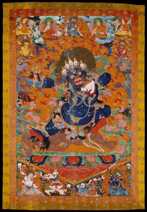 """Early 18th century Tibetan depiction of Yamantaka, """"Destroyer of the God of Death""""."""
