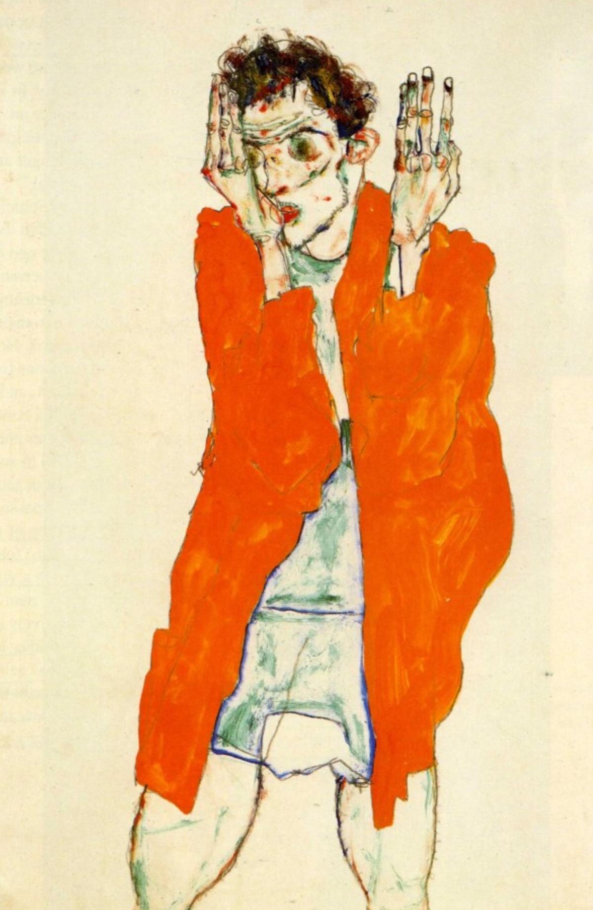 """Egon Schiele. """"Self portrait with orange jacket""""(1913).Watercolour, gouache and pencil on paper.48.3 × 31.7 cm."""