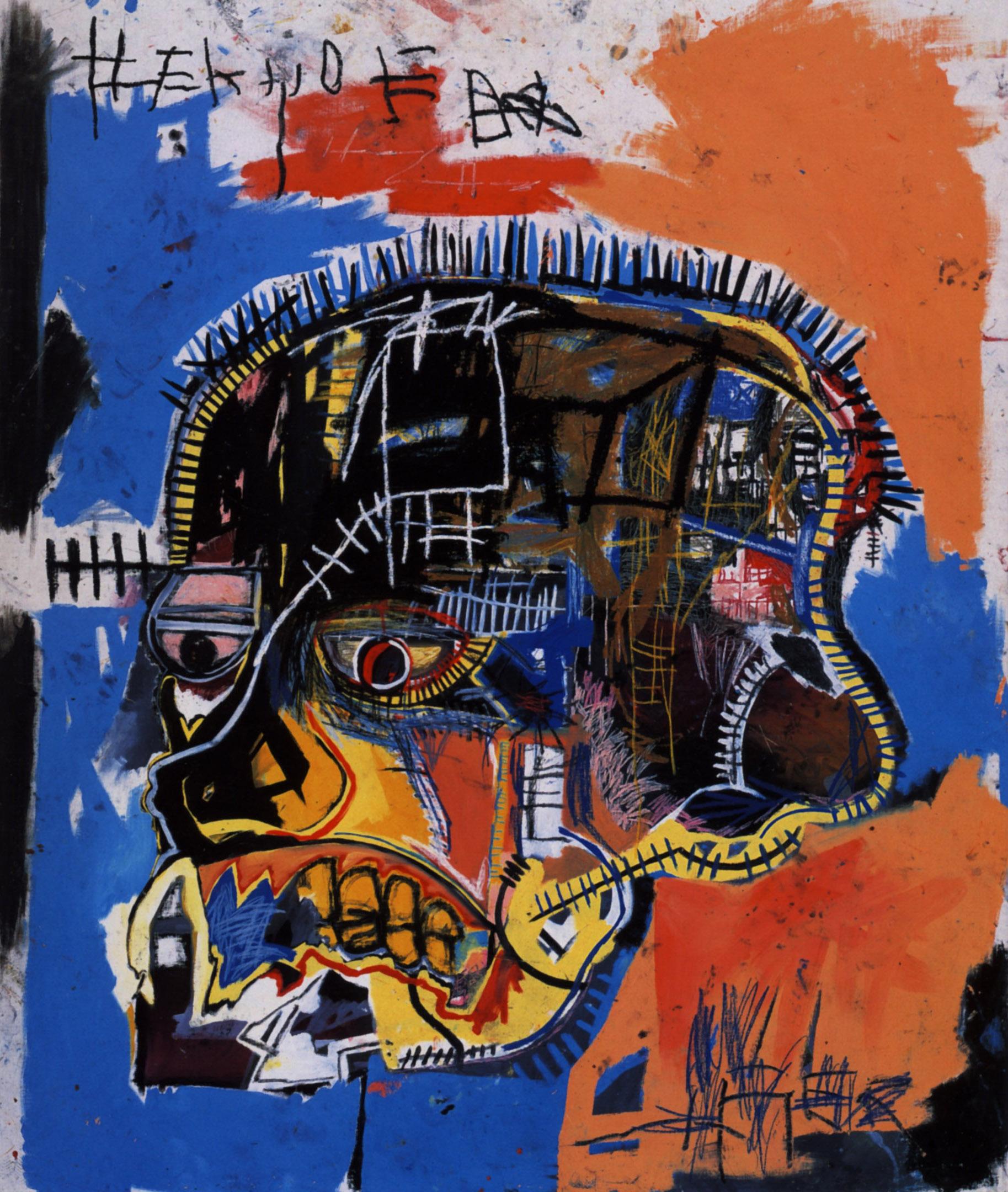 "Jean-Michel Basquiat. ""Scull"" (1981). Acrylic,crayon,canvas.175.9 x 207 cm. Courtesy the Broad, Los Angeles."