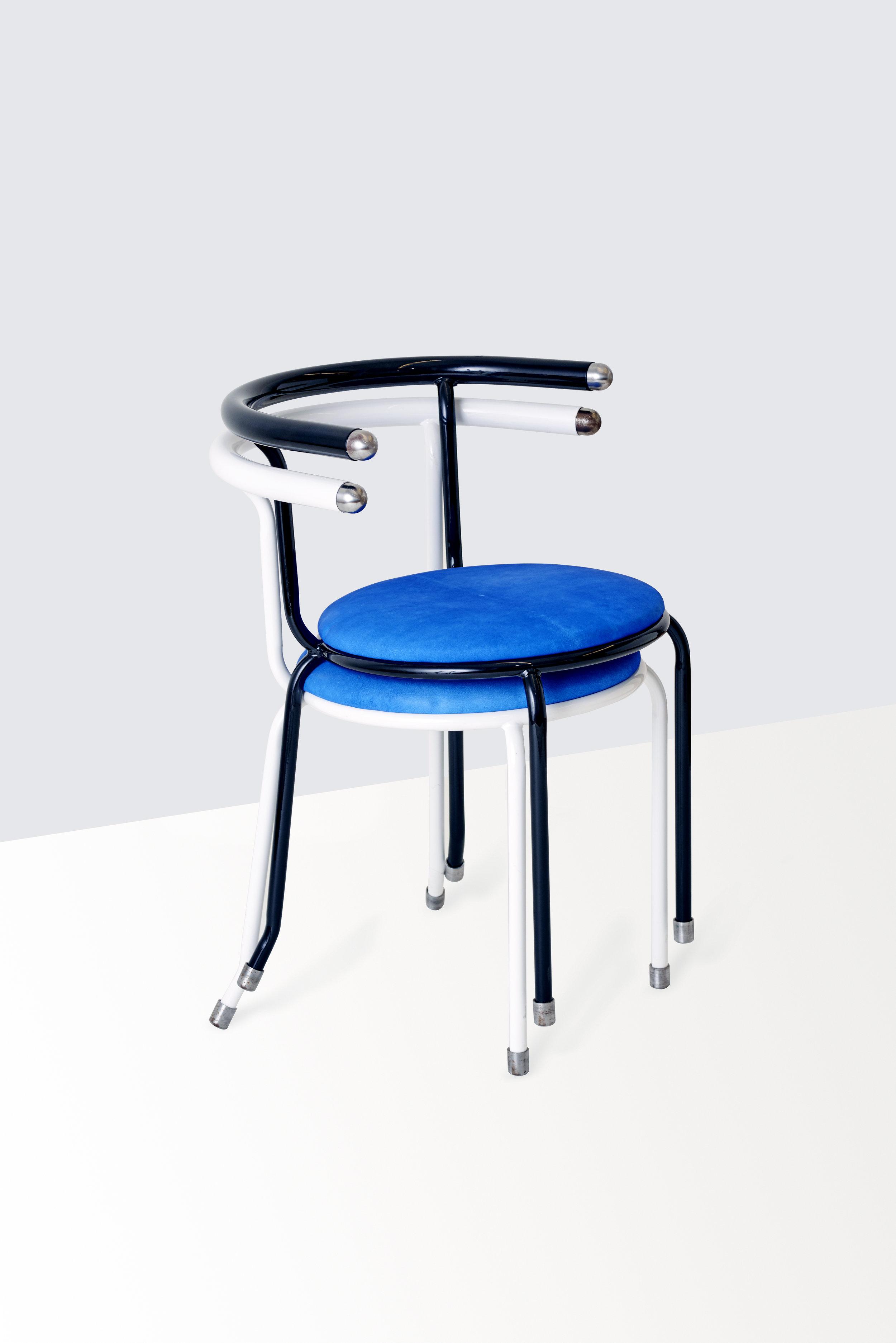 "Dozie Kanu. ""Chair [i]"" (2016). POWDER COATED TUBULAR STEEL, WOOD, POLYURETHANE FOAM, NUBUCK LEATHER. 20 x 20 x 28 inches. Courtesy the artist. Photo: Kyle Rudd."