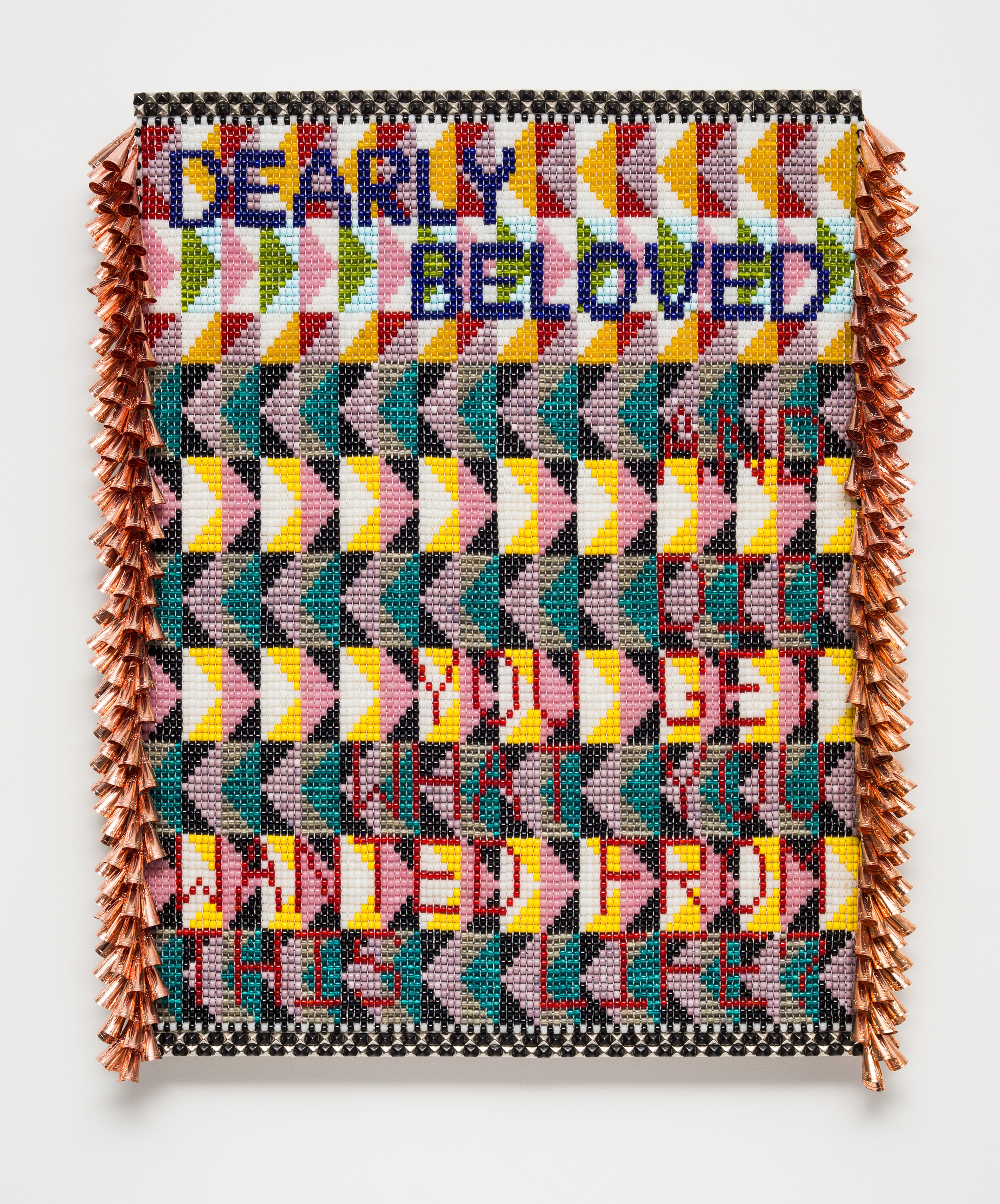 "Jeffrey Gibson. ""DEARLY BELOVED...AND DID YOU GET WHAT YOU WANTED FROM THIS LIFE?"" (2017). Glass beads, artificial sinew, metal studs, copper jingles, acrylic felt, over wood panel. 42 x 31.5 INCHES."
