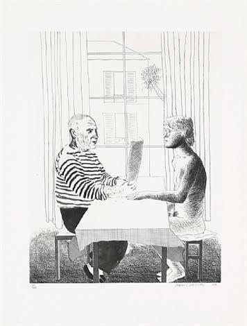 David Hockney,   Artist   and Model, 1974
