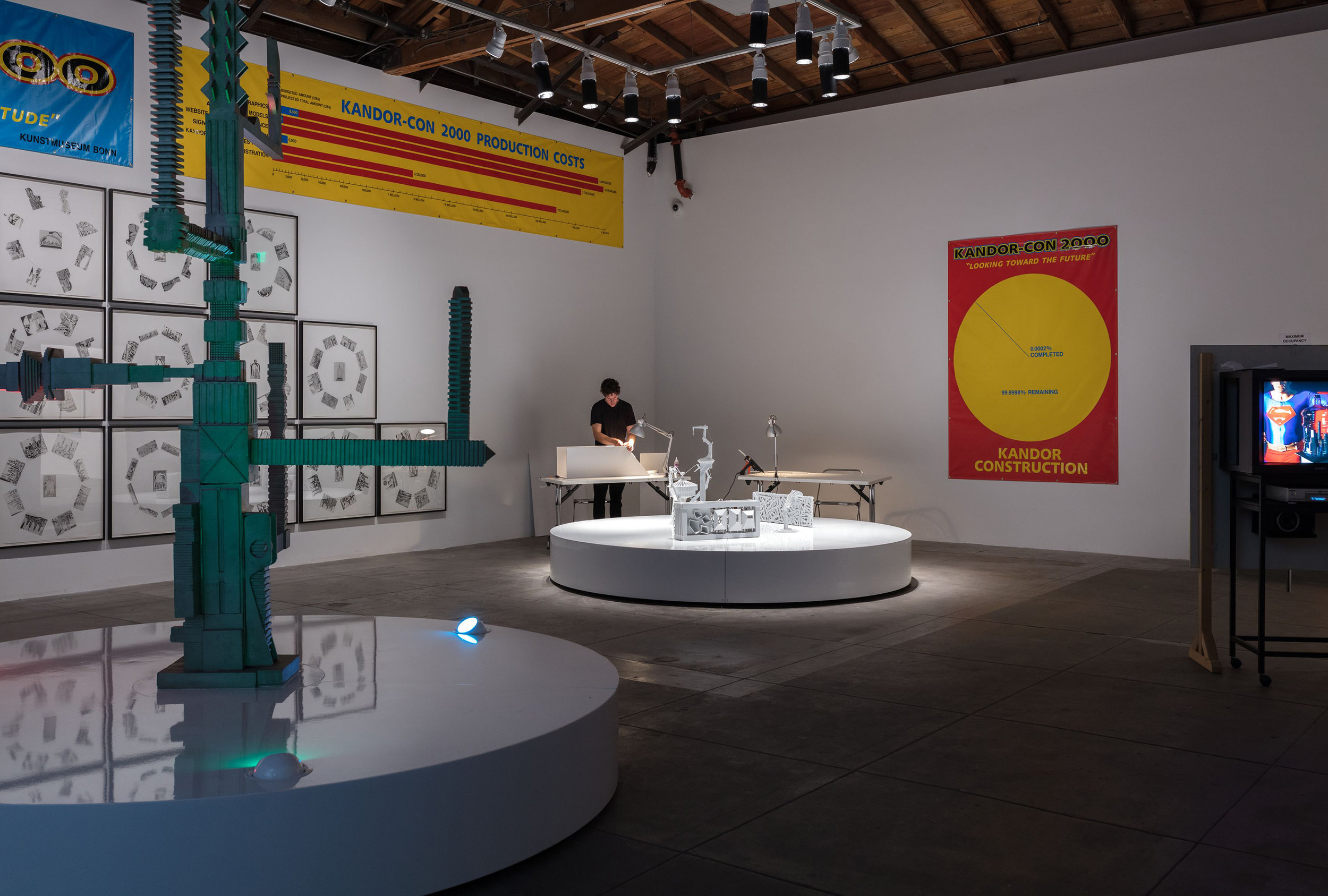 Mike Kelley. Kandor-Con 2000 1999/2007. Mixed media installation with video, sound. Dimensions variable. Installation view, 'Mike Kelley: Kandors 1999 –2011', Hauser & Wirth Los Angeles, 2017 Art © Mike Kelley Foundation for the Arts. All Rights Reserved / Licensed by VAGA, New York, NY. Deichtorhallen Hamburg / Falckenberg. Collection Courtesy the Mike Kelley Foundation for the Arts and Hauser & Wirth. Photo: Fredrik Nilsen