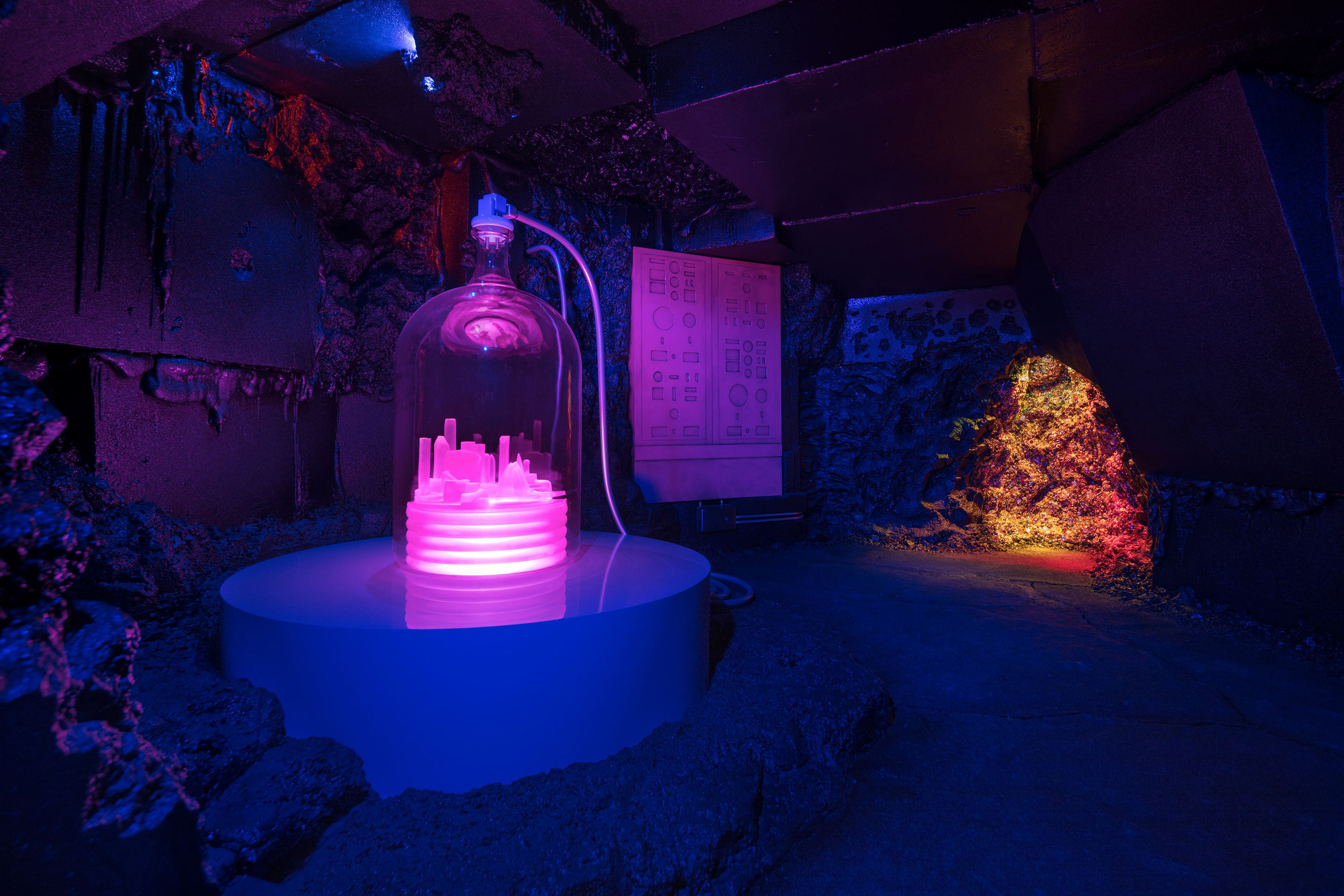 Mike Kelley.  Kandor 10B (Exploded Fortress of Solitude). 2011. Mixed media with video projection, sound. 289.6 x 1524 x 2286 cm / 114 x 600 x 900 in. Installation view, 'Mike Kelley: Kandors 1999 –2011,' Hauser & Wirth Los Angeles, 2017. Art © Mike Kelley Foundation for the Arts. All Rights Reserved / Licensed by VAGA, New York, NY. Courtesy the Mike Kelley Foundation for the Arts and Hauser & Wirth.Photo: Fredrik Nilsen