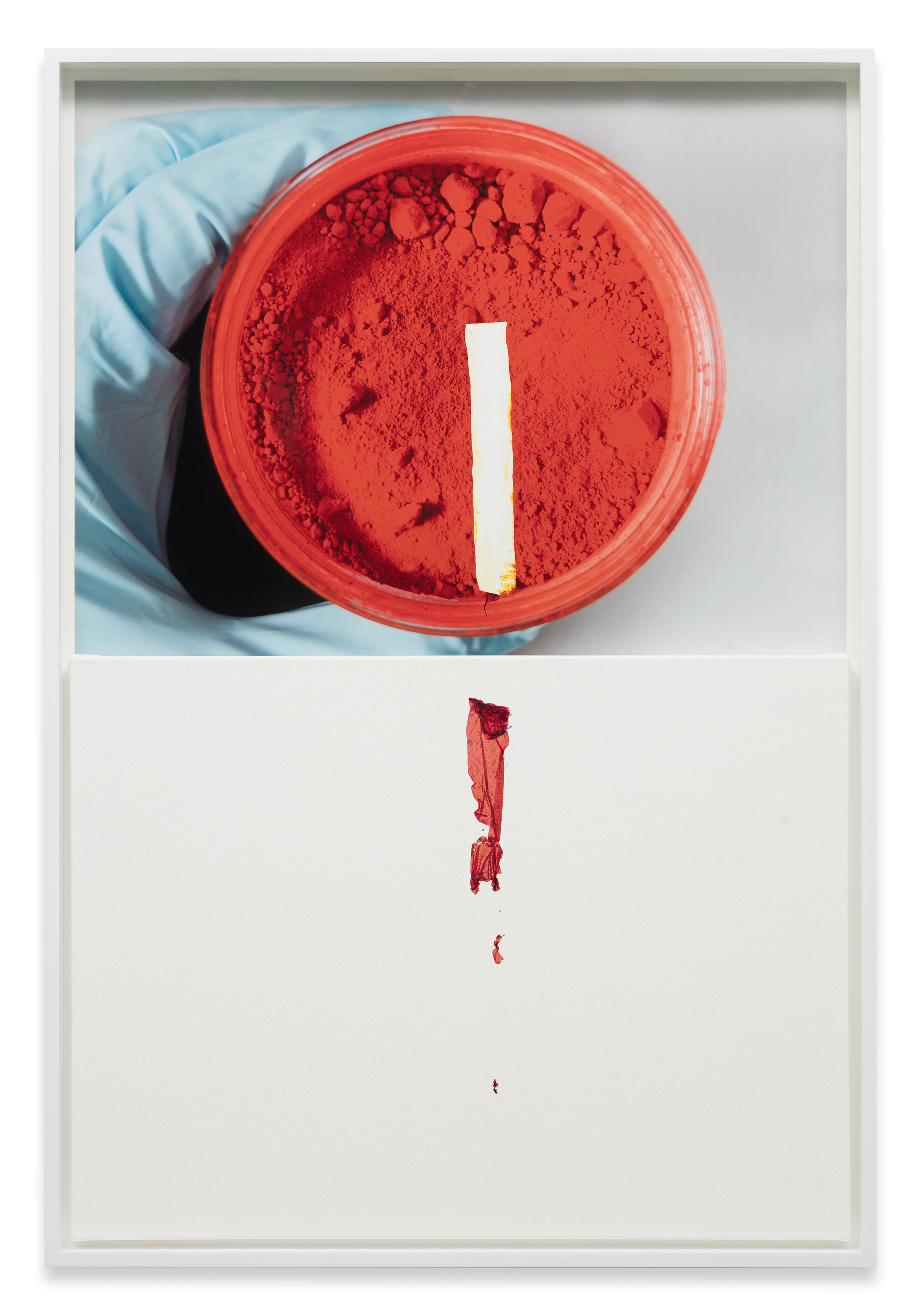 """Analia Saban. """"Markings (from Cadmium Red, L. Cornelissen & Son)"""" (2016). Digital C-print on resin-coated paper and primed canvas. 60 x 40 INCHES. Courtesy the artist and Sprüth Magers. Photo: Timo Ohler"""